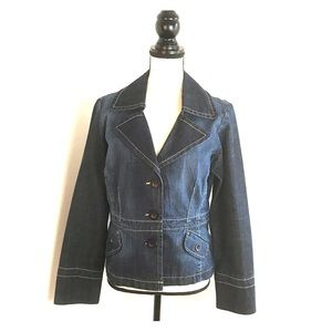 Louie Denim Jacket Size 10 Blue Blazer Spandex
